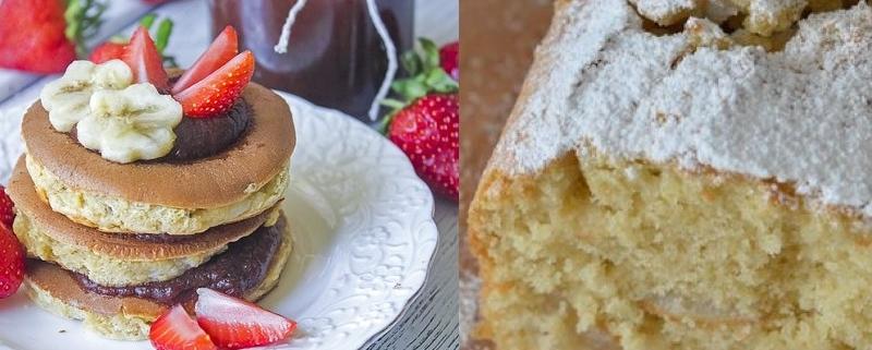 plumcake e pancake all'olio di oliva