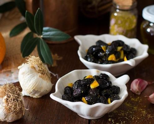Olive in salamoia aromatizzate all'arancia